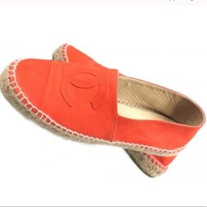 CHANEL Suede Orange Espadrille Flat Shoe